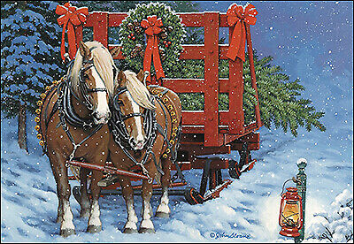Leanin Tree Christmas Cards.New Leanin Tree Deluxe Boxed Christmas Cards Draft Horses