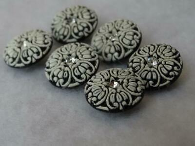 Lacy Small Set 5 Black & White Fancy Rhinestone Buttons 1/2""