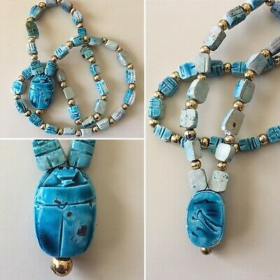 Egyptian Revival Scarab Beetle Blue Antque Beaded Necklace Vintage Beautiful