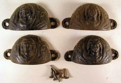 Antique Victorian Cast Iron Drawer Hardware Pulls Handles Women's Face Figure