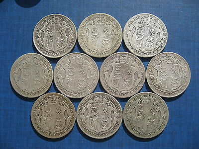 George V - Halfcrown Set 1911 - 1920. 10 Coins.