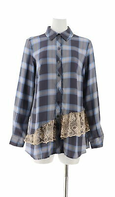 LOGO Lori Goldstein Plaid Shirt Lace Trim Periwinkle Cmbo 14 NEW A285360