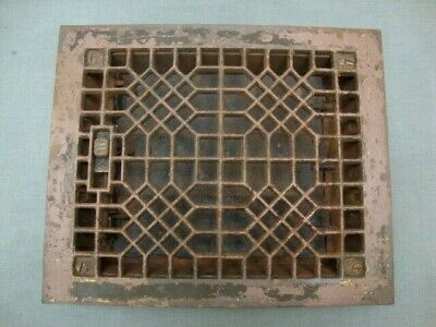 Antique Cast Iron Floor Grille 8 x 10 Hole Heat Grate Register w Louvers Paint