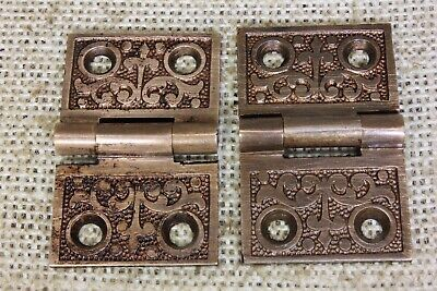 "2 old Hinges decorated door 1880 vintage interior shutter 1 1/4 x 2"" dark bronze"