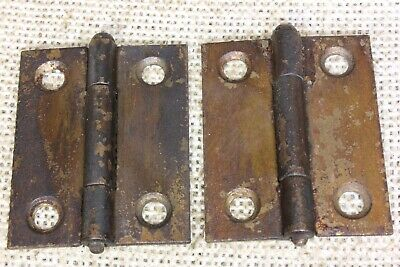 "2 Cabinet Door hinges interior shutter rustic copper 1 1/2 x 2"" removable pin"