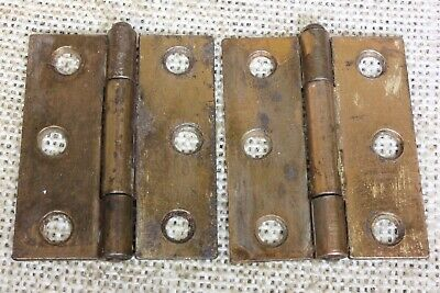 2 Cabinet Door hinges interior shutter rustic copper 2 1/8 x 1 3/4 removable pin