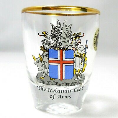 The Icelandic Coat of Arms Shield by Solarfilma Shot Glass Gold Rim