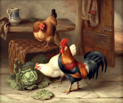 "Hen and chick Oil painting Giclee Art Printed on canvas 16""x20"" L2755"