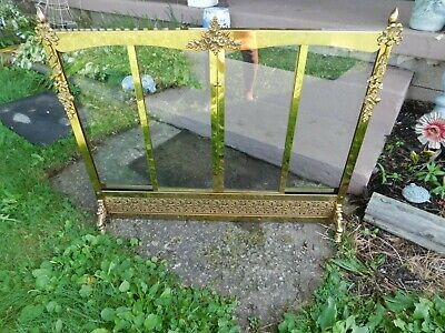 mid century Hollywood Regency brass fireplace glass doors vintage antique glam