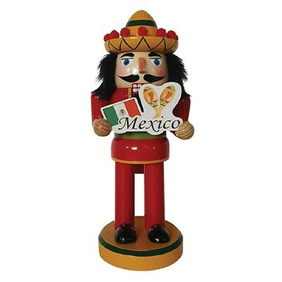 Mexican Man in Sombrero with Mexico Sign Wooden Christmas Nutcracker 10 inch New