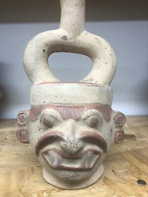Rare Pre Columbian Moche Human Effigy  Pottery Stirrup Water Bottle Mexico Peru