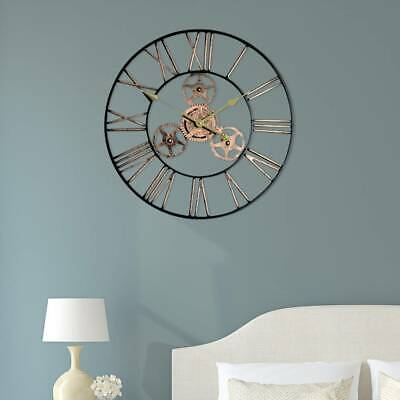 60CM Outdoor Indoor Garden Large Wall Clock Vintage Roman Numeral Gear Rustic
