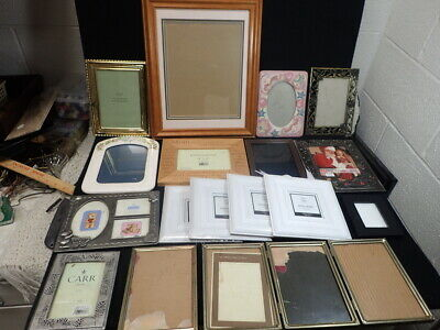 lot of vintage Wood Metal Ceramic Picture Photo Frames Variety of 17 Styles & Sz