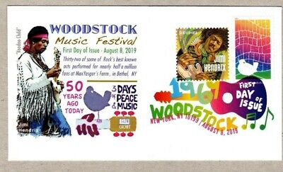 2019 Woodstock Stamp  ~ Jimi Hendrix On Cover ~ Combo Stamp -  Dcp Cancel