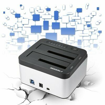 "USB 3.0 to DUAL Bay SATA Hard Drive Dock 3.5"" 2.5"" HDD Docking Station WD"