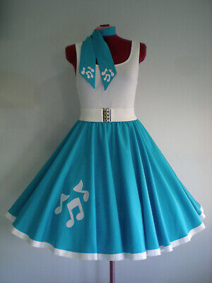 "ROCK N ROLL/ROCKABILLY ""Music Notes"" SKIRT-SCARF M-L Turquoise."