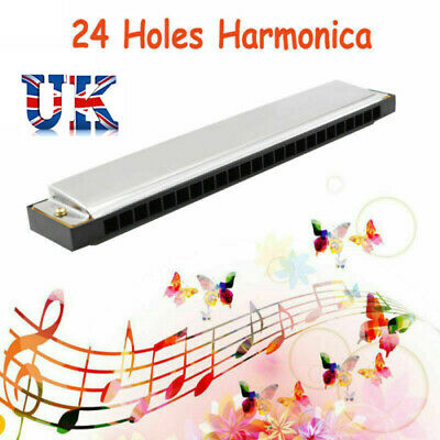 Professional 24 Hole Beginners Harmonica Key of C Mouth Metal Organ with Box UK