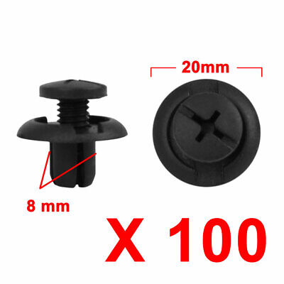 100Pcs 8mm Black Plastic Rivets Push Type Trunk Retainer Fastener Clip for Car