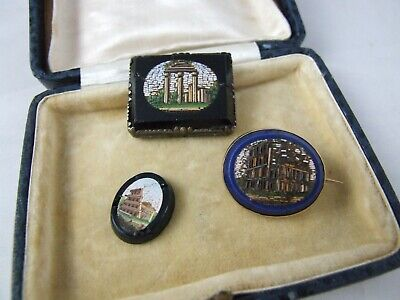 Micro mosaic gold brooch Victorian with two unmounted panels Roman Grand Tour