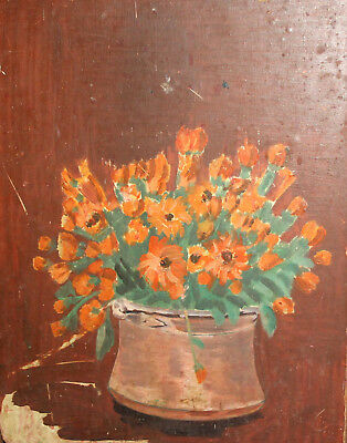 Vintage oil painting still life with flowers impressionism