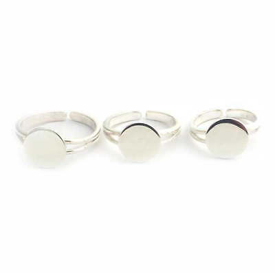 Solid Sterling Silver RING BLANK (L) pad adjustable silver ring to glue on cabs