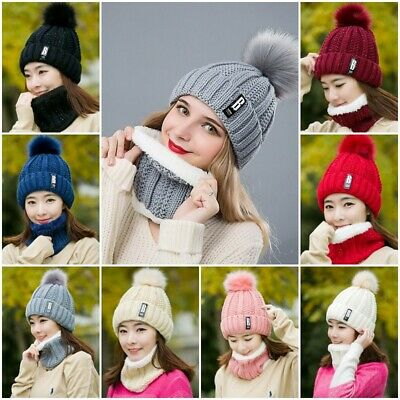 2Pcs Scarf & Hat Set Women Winter Warm Pompoms Knitted Soft Caps And Scarves UK
