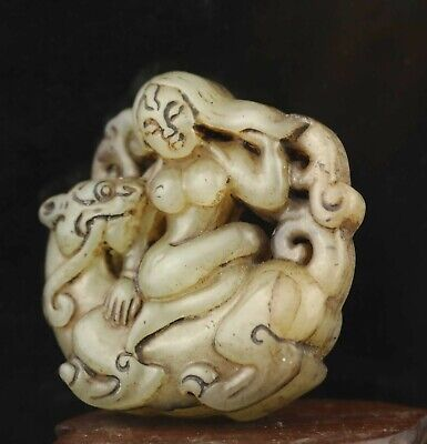 Chinese old natural jade hand-carved statue dragon beauty pendant 2 inch