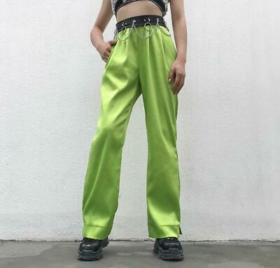 Womens Fruit Green High Waist Straight Overalls Loose Casual Trousers Sbox4