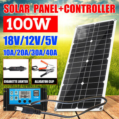 100W 18V Dual USB Solar Panel Battery Charger+10/20/30/40A PWM Solar Controller