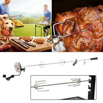 Stainless Steel Electric BBQ Rotisserie Grill Motor Fork Heavy Duty Roast UK