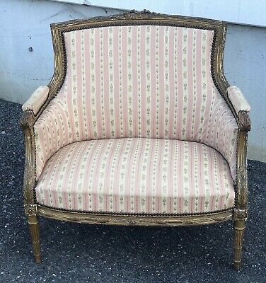 French Gilt Wood Marquise Sofa, Arm Chair, Settee, Couch, Napolean III