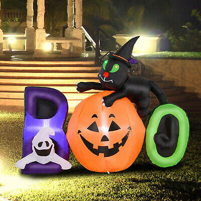 5.5' Lighted Inflatable Outdoor Halloween Yard Decor Boo Black Cat Ghost Pumpkin