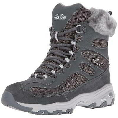 Skechers D Lites Chalet Womens Ladies Grey Chunky Faux Fur Ankle Boots Size 4-8