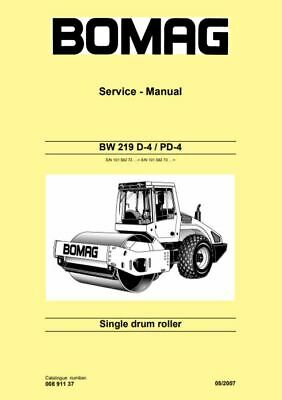 PDF Digital Download Bomag Service Manual Single Drum Roller BW 219 D-4 / PD-4