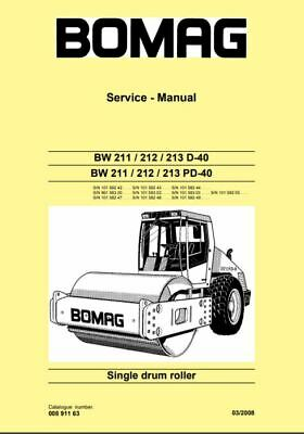 PDF Download Bomag Service Manual Single Drum Roller BW 211 / 212 / 213 D-40