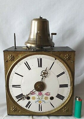 Comtoise Clock Alarm, Pendulum To The Front, Rope, Bell Works Spares