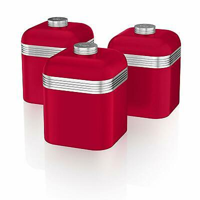 Swan Kitchen Appliance Retro RED Set of 3 Canisters tea, coffee and Sugar Set