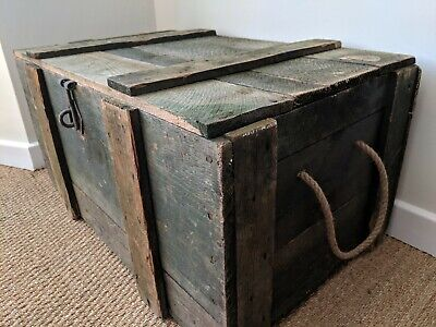 Vintage Pine Trunk~Old Wooden Chest/Box~Coffee Table~Blanket Box~Royal Marines~