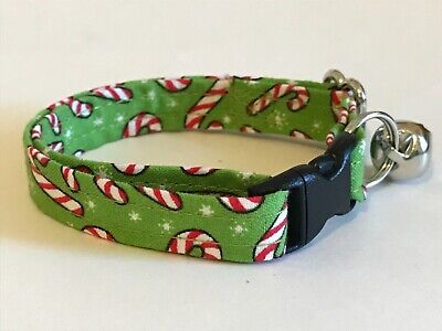 CANDY CANES ON GREEN CAT OR KITTEN COLLAR (you choose the size)