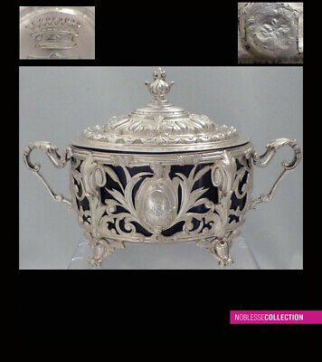LUXURIOUS ANTIQUE 1880s FRENCH OPENWORK STERLING SILVER SUGAR BOWL Rococo style