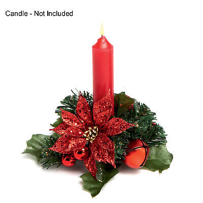 Christmas Poinsettia 13cm Candle Ring Table Centrepiece - Red