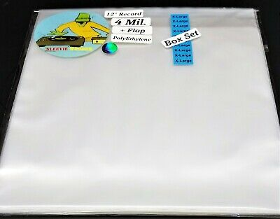 5 Box Set Outer Sleeves XL + Flap 4mil Plastic Fits 6-8 LP Vinyl Record Albums