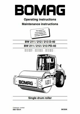 PDF Digital Download Bomag Operating & Maintenance Instructions BW 211 212 213