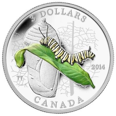 Animal Architects: Caterpillar and Chrysalis - 2014 Canada $3 Fine Silver Coin