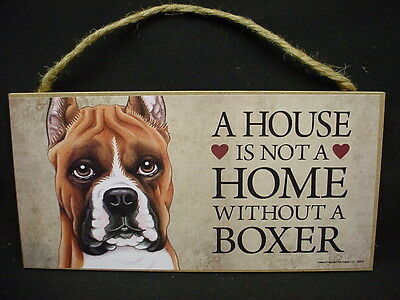 A House Is Not A Home BOXER Cropped Ears Dog 5x10 Wood SIGN Plaque USA Made