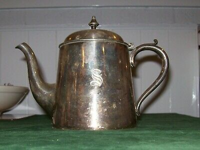 Old Silver Plated Tea Pot-Elkington Plate -with an 'S' Monogram to front-2034/09