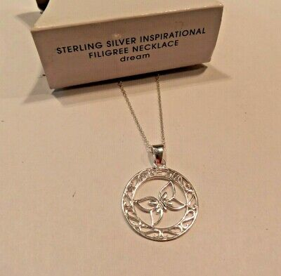 Avon Nos New Old Stock Sterling Silver Inspirational Filigree Dream Necklace