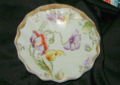 Specatular Old Hand Painted Nippon Japanese Porcelain Scalloped Footed Bowl