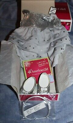 American Girl Doll Silver Shimmer Dress Outfit Set NIB