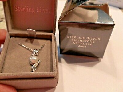 Avon Nos New Old Stock Sterling Silver Birthstone Necklace June